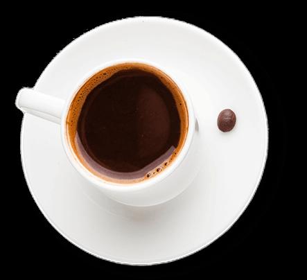 Egy csésze espresso felülnézetből, amit egy szem kávé díszít