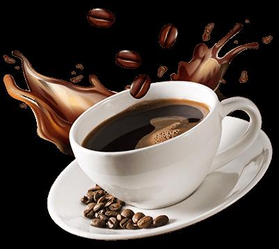 Egy csésze kávé amit kávészemek díszítenek